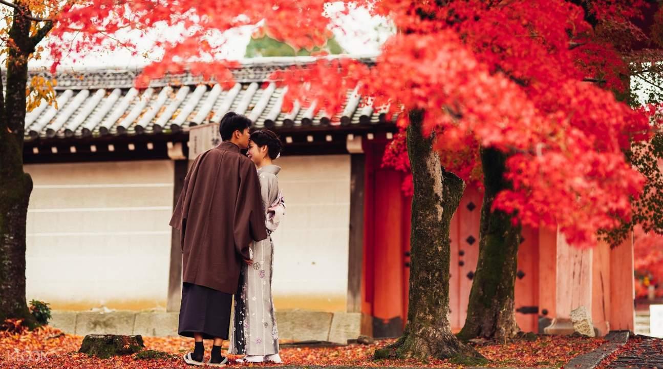 couple in kimono under the maple trees